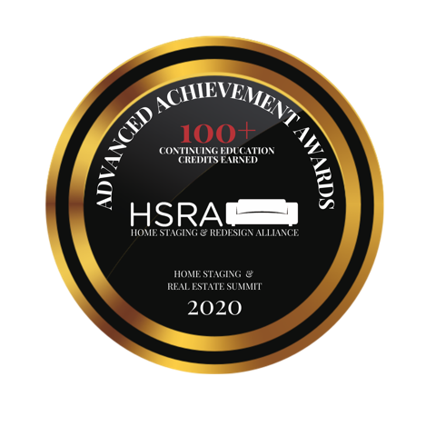2020 Home Staging & Redesign Alliance Advanced Achievement Awards 100+ Continuing Education credits earned.